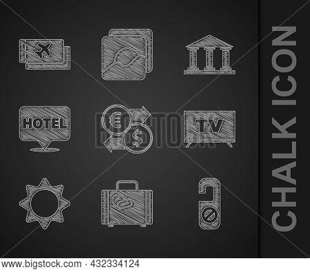 Set Money Exchange, Suitcase, Please Do Not Disturb, Smart Tv, Sun, Location Hotel, Museum Building
