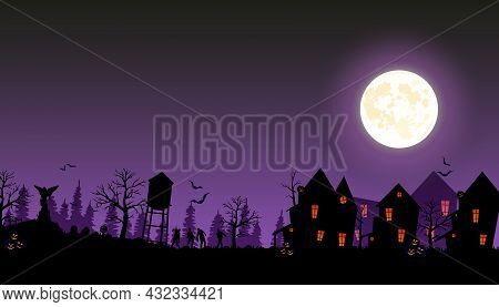 Halloween Street With Old Houses And Zombies. Vector Illustration Of Halloween 2021. Ominous Cemeter