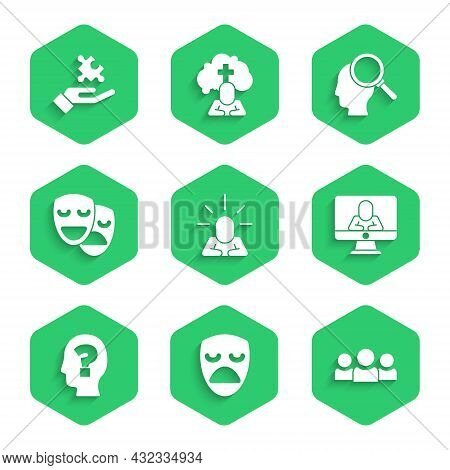 Set Depression, Drama Theatrical Mask, Users Group, Psychologist Online, Head With Question Mark, Co
