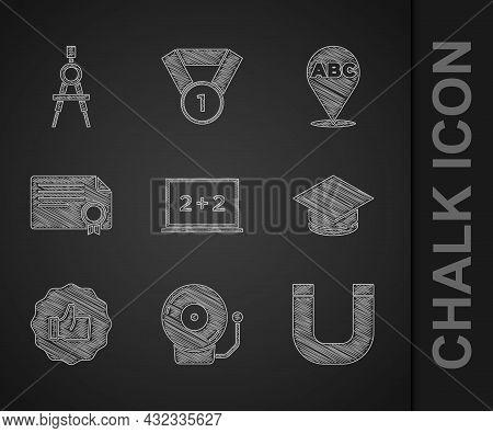 Set Chalkboard, Ringing Alarm Bell, Magnet, Graduation Cap, Hand Thumb Up, Certificate Template, Alp