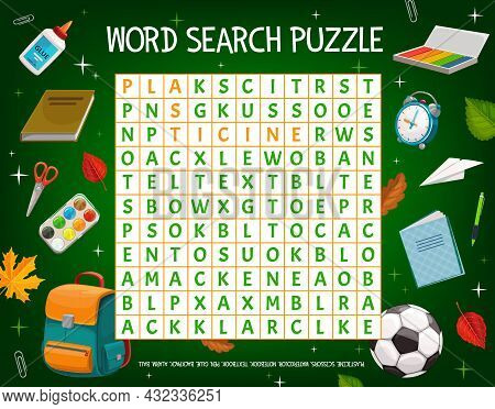 Word Puzzle Game Grid With Cartoon School Education Items And Schoolbag, Vector. Word Quiz Or Riddle