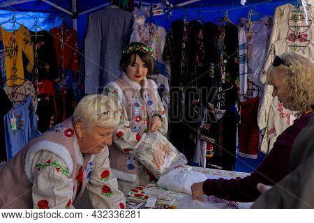 Korosten', Ukraine - September 4, 2021: Open Air Traditional Crafts Fair. National Ukrainian Clothin