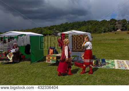 Kyiv, Ukraine - September 5, 2021: Open Air Traditional Crafts Fair. National Ukrainian Clothing. Se