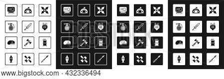 Set Japanese Ninja Shuriken, Sword, Hand Grenade, Military Headquarters, Bulletproof Vest, Barracks,