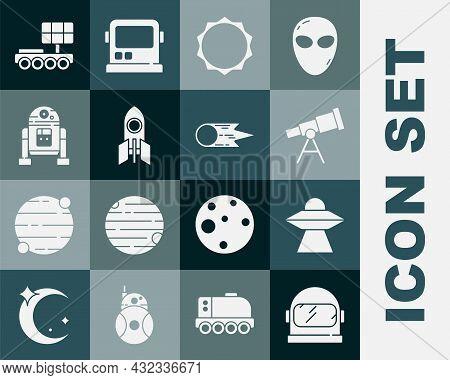 Set Astronaut Helmet, Ufo Flying Spaceship, Telescope, Sun, Rocket, Robot, Mars Rover And Comet Fall