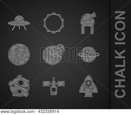 Set Planet, Satellite, Rocket Ship, Saturn, Asteroid, Earth Globe, Astronomical Observatory And Ufo