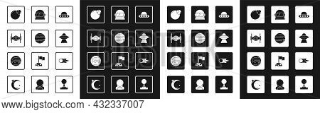 Set Ufo Flying Spaceship, Planet, Cosmic, Astronaut Helmet, Comet Falling Down Fast And Icon. Vector