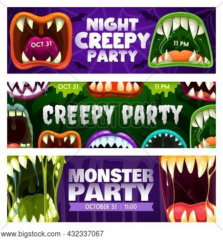 Creepy Party Night Vector Flyers With Monster Roar Mouths. Halloween Horror Night Event Invitation C