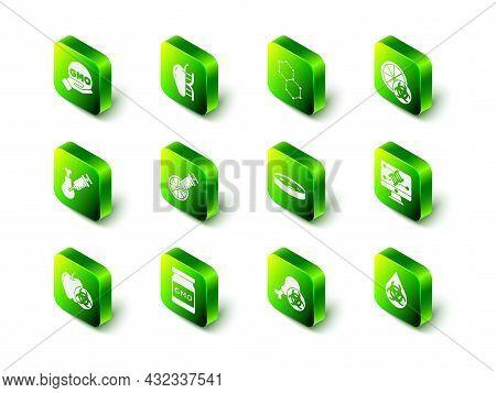 Set Genetically Modified Apple, Chemical Formula, Orange, Engineering Modification, Gmo, Petri Dish