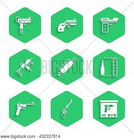 Set Trap Hunting, Revolver Gun, Military Ammunition Box, Bullet, Mauser, Mp9i Submachine, Pistol Or