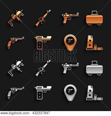 Set Pistol Or Gun, Weapon Case, Gun Magazine And Bullets, Location With Weapon, Revolver, Desert Eag
