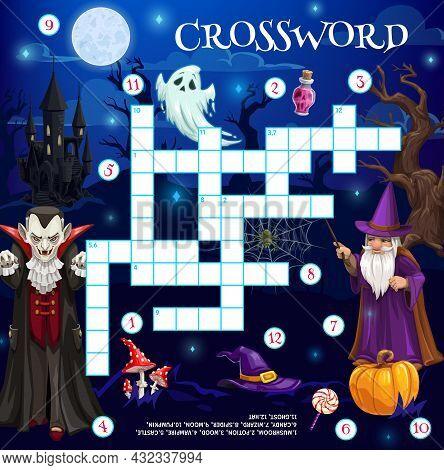 Cartoon Halloween Characters Crossword Grid, Find Word Quiz Game, Vector Riddle. Kids Worksheet With