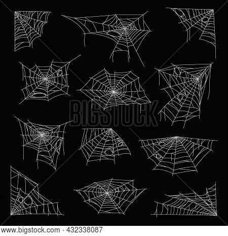 White Sticky Cobweb And Spider Web. Halloween Holiday Vector Decorations, Horror Background Or Creep