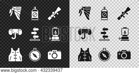Set Bandana Or Biker Scarf, Spray Against Insects, Sniper Optical Sight, Hunting Jacket, Compass, Ph