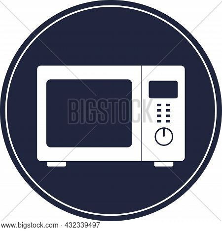 Microwave Oven Icon. Gray Background. Kitchen Appliances.