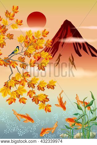 Colored Illustration Of A Landscape With A Mountain.bird On A Tree With Autumn Leaves, Gold Fish In