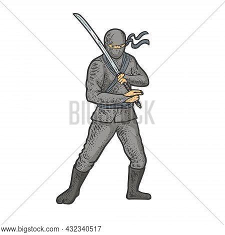 Ninja Warrior With Katana Sword Color Sketch Engraving Vector Illustration. T-shirt Apparel Print De
