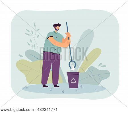 Volunteer With Garbage Picker Putting Litter Into Recycle Bin. Man Throwing Trash Into Dustbin Flat