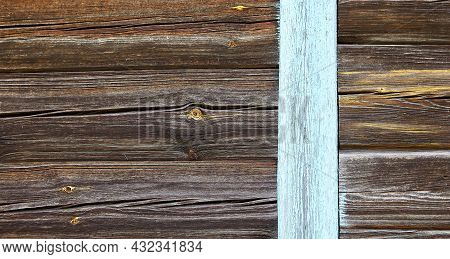 Old Weathered Wood Texture With Knot And Scratches. Aged Barn Boards. Wooden Background.