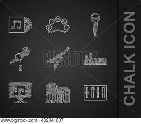 Set Electric Bass Guitar, Grand Piano, Sound Mixer Controller, Music Note, Tone, Microphone, And Vin