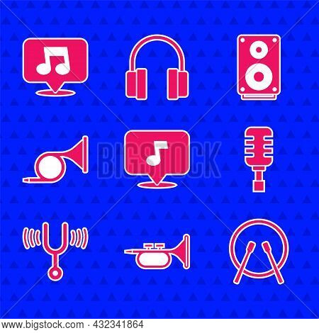 Set Music Note, Tone, Trumpet, Drum And Drum Sticks, Microphone, Musical Tuning Fork, Stereo Speaker