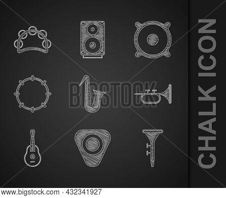Set Musical Instrument Saxophone, Guitar Pick, Drum And Drum Sticks, Trumpet, Tambourine, Stereo Spe
