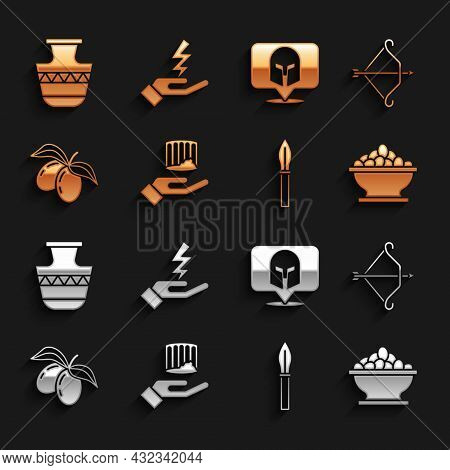 Set Ancient Column, Medieval Bow With Arrow, Olives In Bowl, Spear, Branch, Greek Helmet, Amphorae A