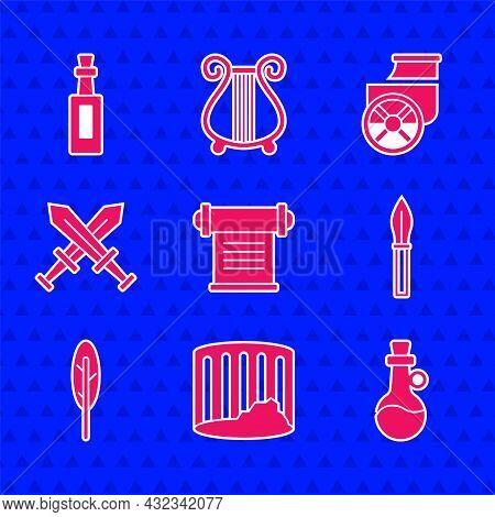 Set Decree, Parchment, Scroll, Ancient Column, Bottle Of Olive Oil, Medieval Spear, Feather Pen, Cro