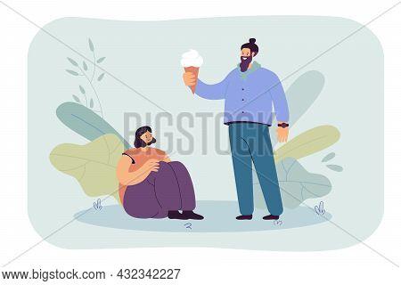 Cartoon Man Holding Ice Cream Cone For Sad Female Friend. Guy Comforting Woman With Sweet Dessert Fl