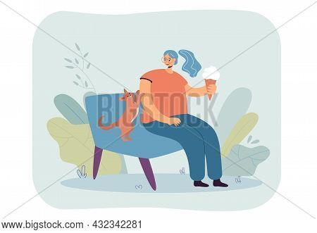 Cartoon Girl Sitting On Sofa With Cat And Eating Ice Cream. Domestic Animal Asking Female Owner For