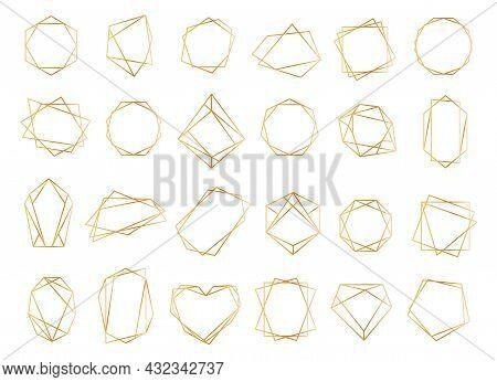 Gold Geometric Frames, Polygonal Line Crystal Shapes Border. Elegant Golden Frame For Wedding Invita