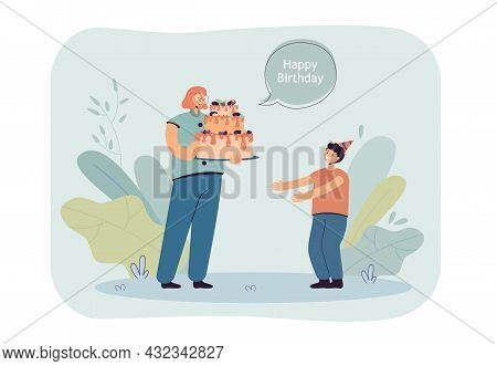 Cartoon Mother With Big Cake Wishing Happy Birthday To Son. Smiling Boy In Party Hat And Woman Celeb