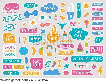 Cute Planner Stickers, Diary Or Notebook Trendy Decor Elements. Calendar Reminders, Quotes, Daily Or
