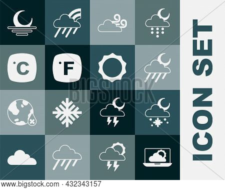 Set Weather Forecast, Cloud With Snow And Sun, Rain Moon, Windy Weather, Fahrenheit, Celsius, Sunset