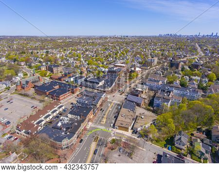 Arlington Historic Town Center Aerial View On Massachusetts Avenue At Mystic Street And Broadway Wit