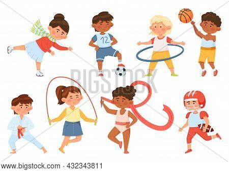 Cartoon Children Exercising, Kids Doing Sports And Gymnastics. Boys And Girls Playing Ball, Ice Skat