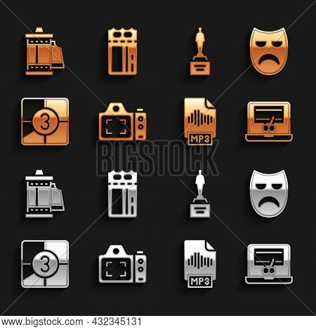 Set Photo Camera, Drama Theatrical Mask, Video Recorder On Laptop, Mp3 File Document, Old Film Movie