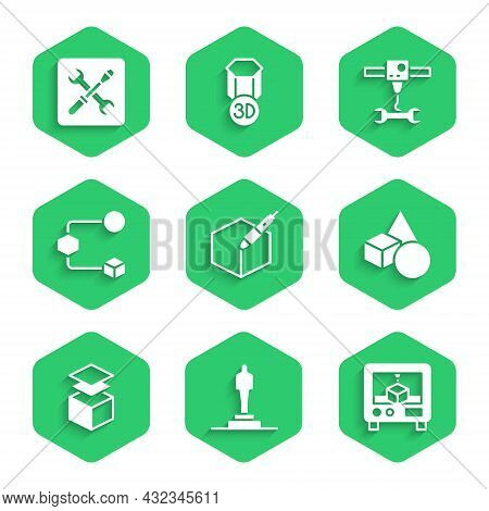 Set 3d Pen Tool, 3d Printer Model, Basic Geometric Shapes, Layers, Isometric Cube, Wrench Spanner An