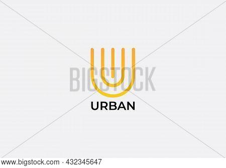 Urban Abstract U Letter Modern Minimalist Logo Design