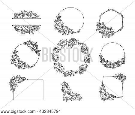 Peony Flower Frame And Border Bundle, Floral Line Wreath With Peonies, Botanical Monogram Circle Fra