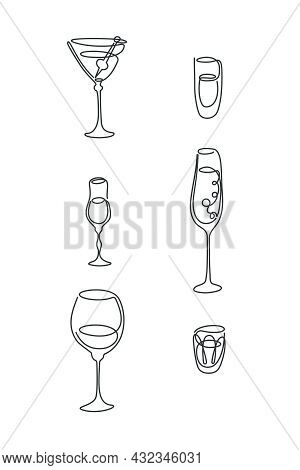 One Line Drawing Martini Rum Wine Liquor Champagne Vodka Glass On White Background. Freehand Black W