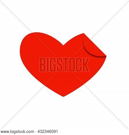 Red Shape Heart With Curled Corner On White Background. Modern Illustration. Simple Object In Flat S