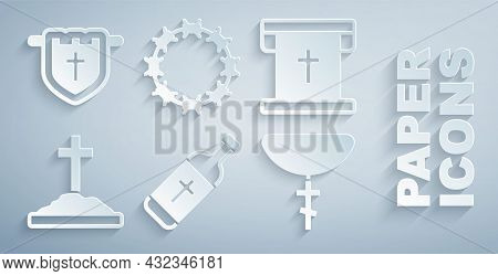 Set Holy Water Bottle, Flag With Christian Cross, Grave, Christian On Chain, Crown Of Thorns And Ico