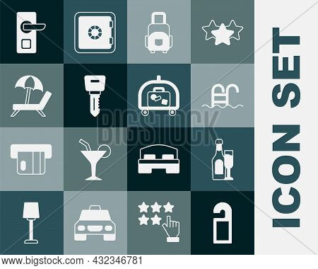 Set Please Do Not Disturb, Champagne Bottle With Glass, Swimming Pool, Suitcase, Hotel Door Lock Key