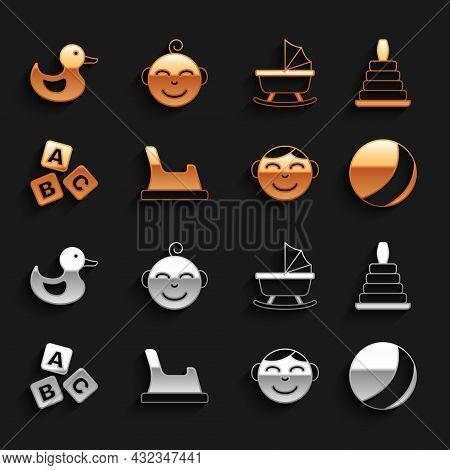 Set Baby Potty, Pyramid Toy, Beach Ball, Little Boy Head, Abc Blocks, Stroller, Rubber Duck And Icon