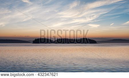 Gulf Islands On The West Coast Of Pacific Ocean. Canadian Nature Landscape Background. Summer Sunris
