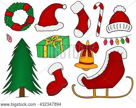 Christmas Stuff Illustrations Collection, Winter Supplies Vectors Isolated In A White Background, Ho