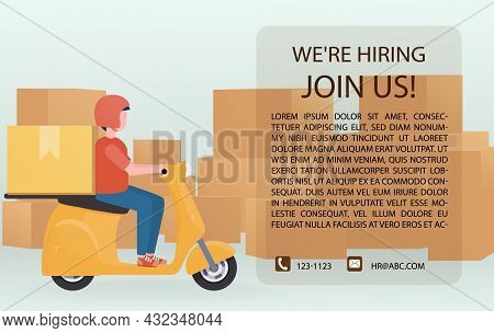 Recruiting A Motorcycle To Deliver The Parcels Of Various Sizes. Employee Recruitment Announcement.