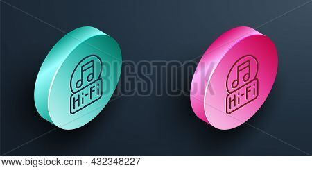 Isometric Line Music Note, Tone Icon Isolated On Black Background. Turquoise And Pink Circle Button.