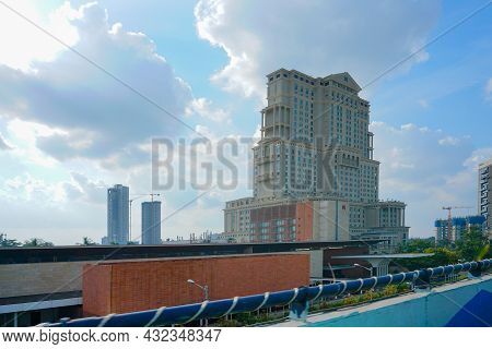 Kolkata, West Bengal, India - 20th July 2019 : View Of Itc Sonar Bangla Hotel With Blue Sky And Whit